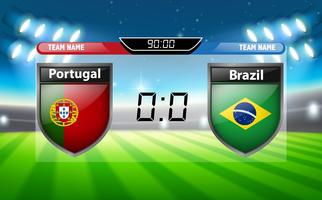 Portugal vs Brasilien Anzeigetafel vektor