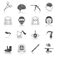 Kirurgiska ikoner svart vektor
