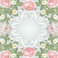 Vacker blommig ram. Mall för din text eller bild vektor