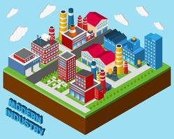 Industriella byggnader isometriska vektor