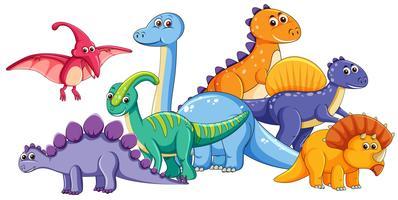 Grupp av söt dinosaurie