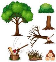 Ein Satz Baum schneiden vektor