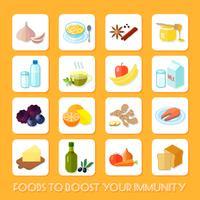 Gesunde Lebensmittelikonen flach