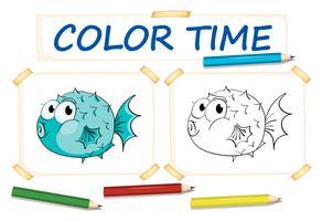 Färgsmall med pufferfisk vektor