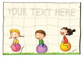 Papierhintergrund mit Kindern auf springenden Bällen