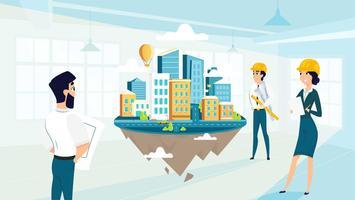 Grupparkitekter skapar och projekterar projekt av staden