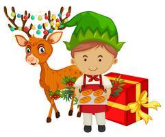 Weihnachtsmotiv mit Bäcker und Rentier vektor