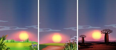 Hintergrundszenen mit Sonnenuntergang an verschiedenen Orten vektor