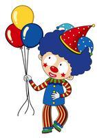 Lycklig clown med färgglada ballonger