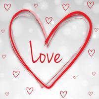 Velentinsk kortmall med röda hjärtan