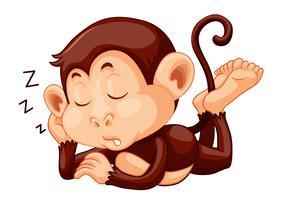 Ein Affe, der auf weißem Hintergrund schläft vektor