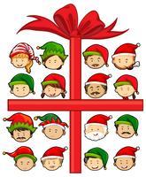 Weihnachtsmotiv mit Weihnachtsmann und Elfen vektor