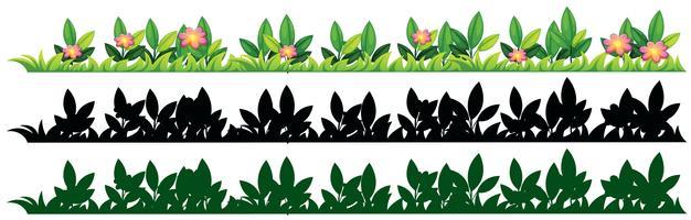 Drei Muster von Gras und Blumen vektor