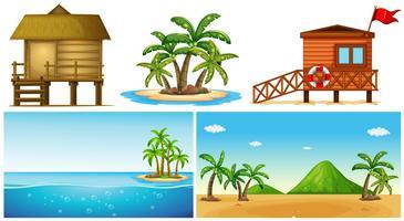 Ocean scener med ö och badvakt hus vektor