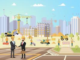 Deal möte med partner och entreprenör på byggnadskonstruktion