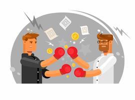 Vector die Illustration, die zwei Geschäftsmänner hat, die einen Kampf, Geschäftskampfverein haben.