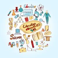 Utbildning Doodle Färgad