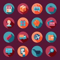 Einkaufen-E-Commerce-Ikonen flach eingestellt