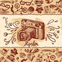 Hipster kamera bakgrund vektor