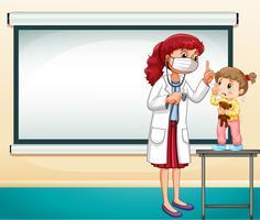 Rahmenschablone mit Doktor und kleinem Mädchen vektor