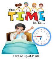 En ung man vaknar klockan 6:45 vektor