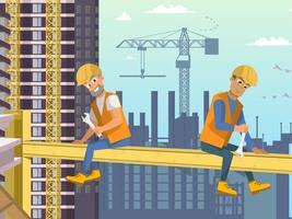 Två byggare sitter på balk över huskonstruktion.