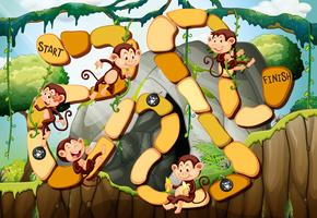 Spelmall med apor i skogen