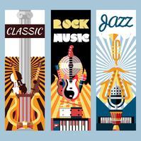 Musik flat banners set