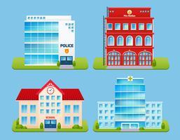 Byggnader Emblem Set