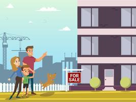 Familie kaufen Immobilien Haus. Zeichentrickfiguren.