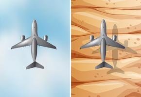 Två scener med flygplan som flyger
