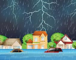 extrem översvämning i förortsgator