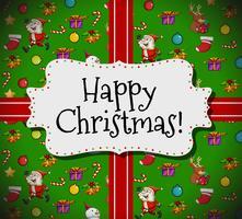 Glad julkort mall med jul och julgransprydnader vektor