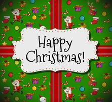 Glückliche Weihnachtskartenschablone mit Sankt und Verzierungen