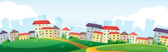 Hintergrundszene mit Dorf auf den Hügeln vektor
