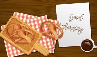 Sesam-Brezeln-Frühstücks-Draufsicht vektor