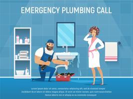Rörmokare reparera rörläcka i badrum med verktygslåda