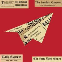 Pappersflygplan. Flygplan från tidningen på vit bakgrund. Färskt nyhetskoncept.