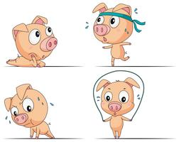 Kleines Schwein macht verschiedene Übungen vektor