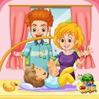 Småbarn leker med far och mor