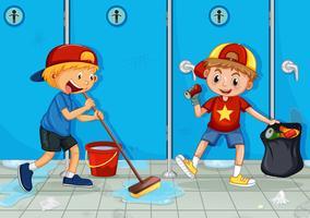 Zwei Kinder helfen beim Reinigen der Toilette