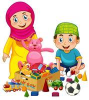 Muslimska barn leker leksak vektor