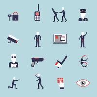 Säkerhetsvakt platt ikoner