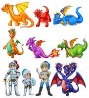 Viele Drachen und Ritter auf weißem Hintergrund