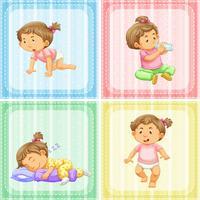 Vier Aktionen eines kleinen Mädchens vektor