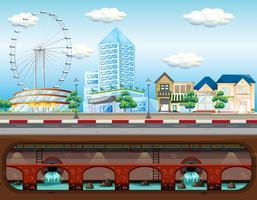 Abwassersystem in der Großstadt vektor