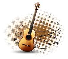 Gitarr och musikaliska anteckningar i bakgrunden