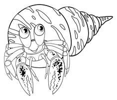 Animal doodle outline för eremitkrabba vektor