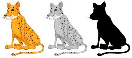 Set av cheetah karaktär