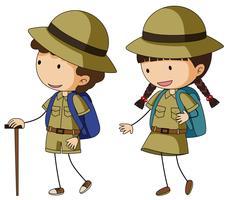 Boyscout och girlscout i brun uniform vektor
